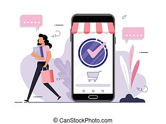 Online Shopping vector concept. Young girl with shopping ...