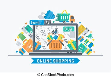 Online shopping. Vector flat  illustration for web design.