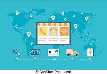 Online shopping. Vector flat illustration for web design.