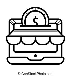 Online shopping vector icon