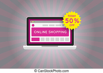 Online shopping website sale icon.