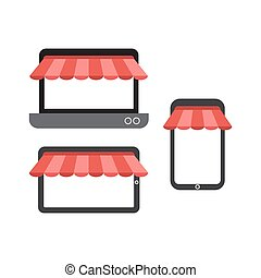 Online shopping with blank phone, laptop and tablet flat icon vector illustration.