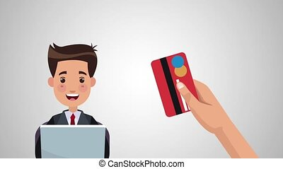 Online shopping with credit card HD animation