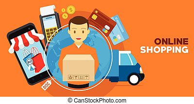 online shopping with delivery service illustration