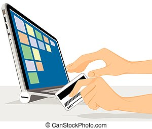 Online shopping with laptop - Vector illustration of a ...