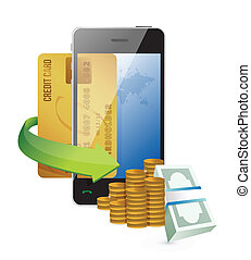 online smartphone shopping illustration design over white...
