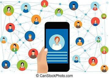 online, sociaal, netwerk, zakelijk, verbinding
