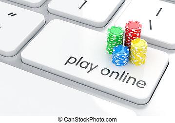 online, spelen, concept