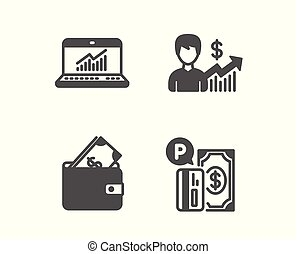 Online statistics, Wallet and Business growth icons. Parking payment sign. Vector