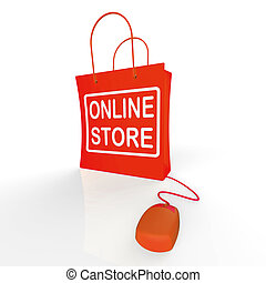 Online Store Bag Shows Shopping and Buying From Internet ...