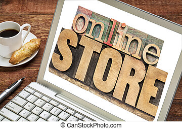 online store concept - online store - text in letterpress...