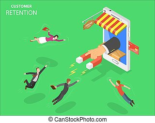 Online store customer retention flat isometric vector concept. Hand with magnet has appeared from the smartphone screen attracting people from everywhere.