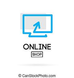 online store design logo - Online shop vector logo. For...