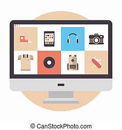 Online store flat illustration - Flat design modern vector ...