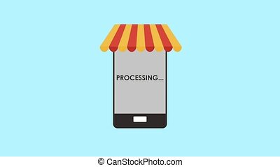 Online store from smartphone HD animation