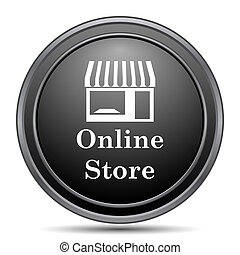 Online store icon, black website button on white background.