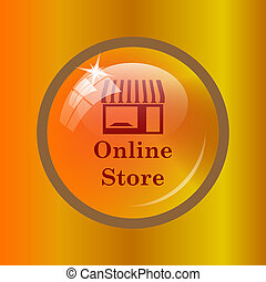 Online store icon. Internet button on colored background.