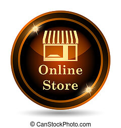 Online store icon. Internet button on white background.