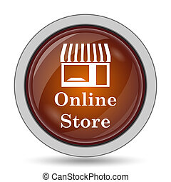 Online store icon, orange website button on white...