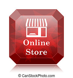 Online store icon, red website button on white background.