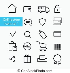 Online store icons - Vector online store icons set  1