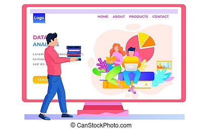 Online store landing page template. Pastime, reading via the internet. Data analysis concept