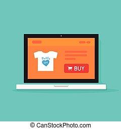 Online store on laptop vector, internet shop website computer screen