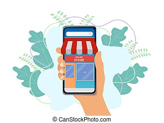 Online store on smart phone.