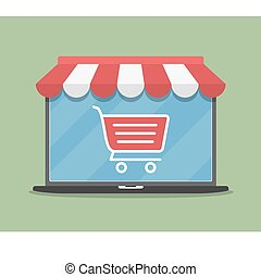 Online Store - Online store concept illustration, laptop ...