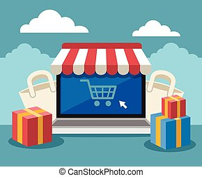 Online store. Vector flat illustration