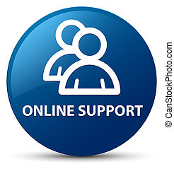 Online support (group icon) blue round button