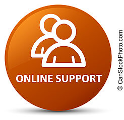 Online support (group icon) brown round button