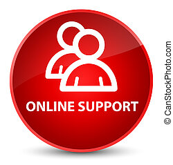 Online support (group icon) elegant red round button