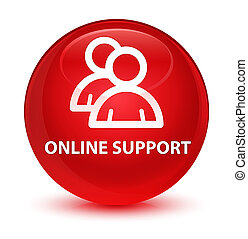 Online support (group icon) glassy red round button