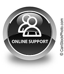 Online support (group icon) glossy black round button