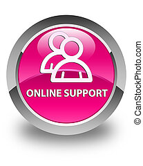 Online support (group icon) glossy pink round button