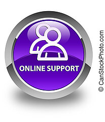Online support (group icon) glossy purple round button