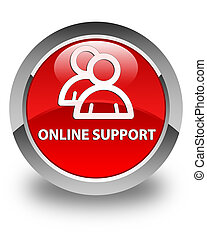 Online support (group icon) glossy red round button