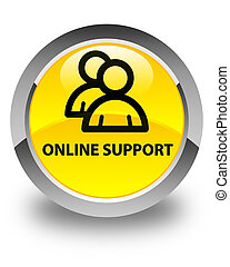 Online support (group icon) glossy yellow round button