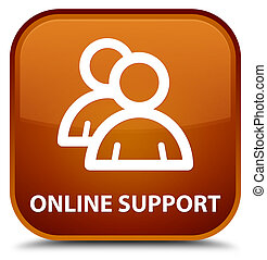 Online support (group icon) special brown square button