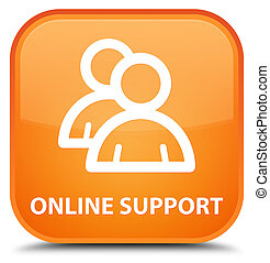 Online support (group icon) special orange square button