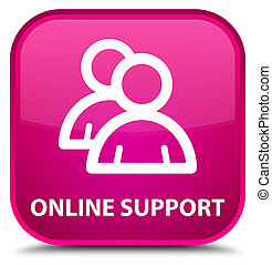 Online support (group icon) special pink square button