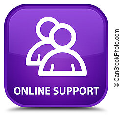 Online support (group icon) special purple square button