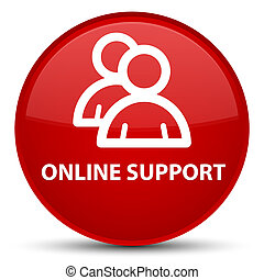 Online support (group icon) special red round button