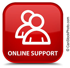 Online support (group icon) special red square button