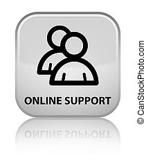 Online support (group icon) special white square button