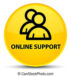 Online support (group icon) special yellow round button