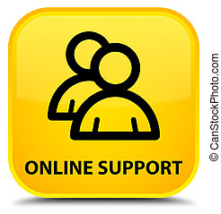 Online support (group icon) special yellow square button