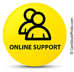 Online support (group icon) yellow round button