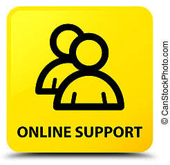 Online support (group icon) yellow square button